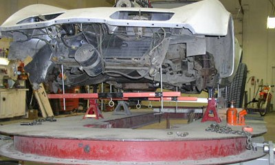 Auto repair and restoration work in progress, 70's Corvette Stingray